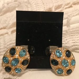 Christian Dior vintage rhinestone clip earrings